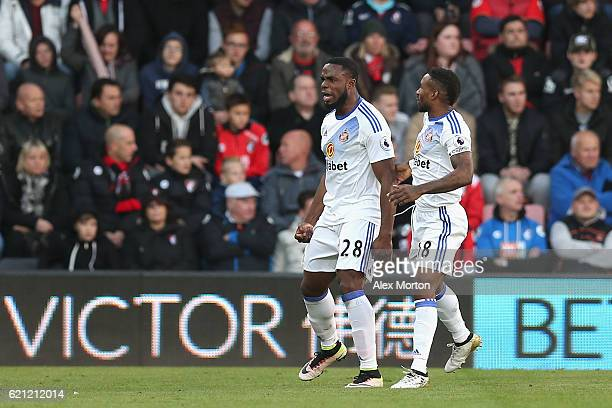 Victor Anichebe of Sunderland celebrates scoring his sides first goal with Jermain Defoe of Sunderland during the Premier League match between AFC...