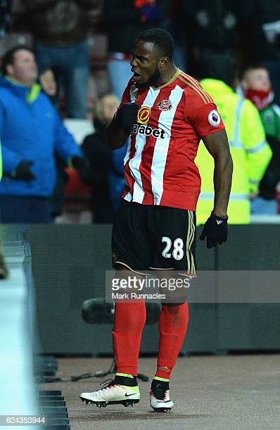 Victor Anichebe of Sunderland celebrates scoring his sides second goal during the Premier League match between Sunderland and Hull City at Stadium of...