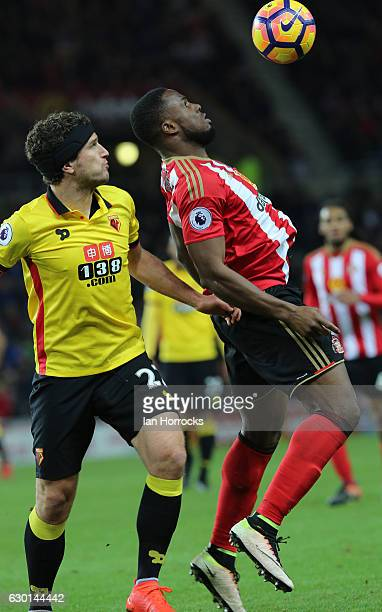 Victor Anichebe of Sunderland holds the ball up ahead of Daryl Janmaat of Watford during the Premier League match between Sunderland and Watford at...