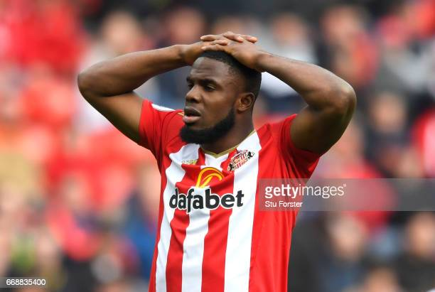 Victor Anichebe of Sunderland look dejected after the Premier League match between Sunderland and West Ham United at Stadium of Light on April 15,...