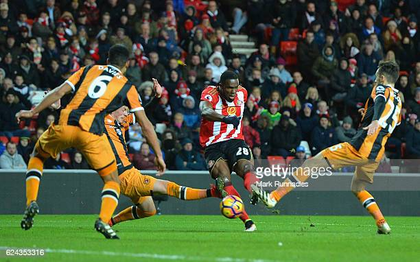 Victor Anichebe of Sunderland scores his sides second goal during the Premier League match between Sunderland and Hull City at Stadium of Light on...