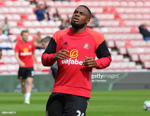 Victor Anichebe of Sunderland warms up during the Premier League match between Sunderland and Manchester United at Stadium of Light on April 9, 2017...