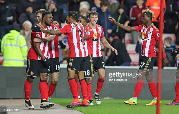 Victor Anichebe of Sunderland with teammates after he scores the second goal during the Premier League match between Sunderland and Hull City at...