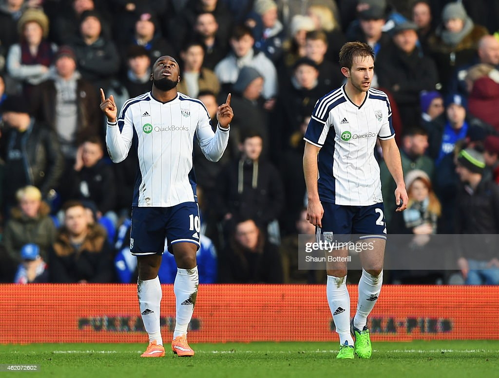 Victor Anichebe (L) of West Brom celebrates scoring his second goal during the FA Cup Fourth Round match between Birmingham City and West Bromwich Albion at St Andrews on January 24, 2015 in Birmingham, England.