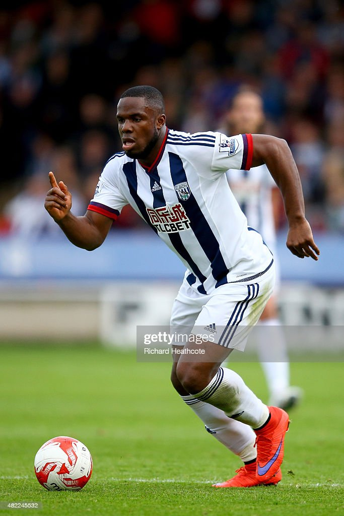 Victor Anichebe of West Brom in action during the Pre-Season Friendly between Walsall and West Bromwich Albion at Banks' Stadium on July 28, 2015 in Walsall, England.