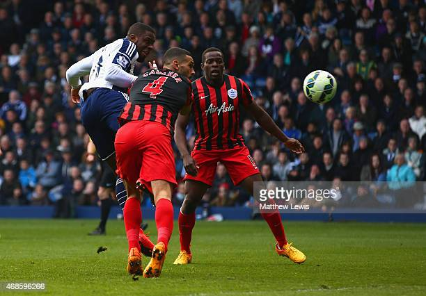 Victor Anichebe of West Brom scores their first goal during the Barclays Premier league match West Bromwich Albion and Queens Park Rangers at The...