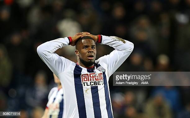 Victor Anichebe of West Bromwich Albion after missing goal scoring opportunity during the Barclays Premier League match between West Bromwich Albion...