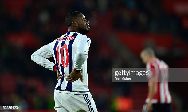 Victor Anichebe of West Bromwich Albion looks dejected during the Barclays Premier League match between Southampton and West Bromwich Albion at St...