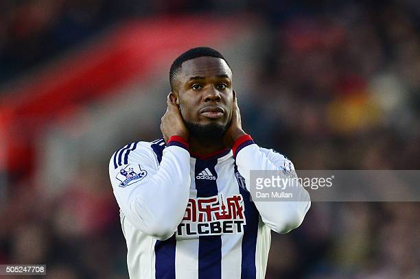 Victor Anichebe of West Bromwich Albion reacts during the Barclays Premier League match between Southampton and West Bromwich Albion at St Mary's...
