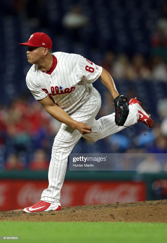 Victor Arano #64 of the Philadelphia Phillies delivers a pitch in the ninth inning during a game against the Colorado Rockies at Citizens Bank Park on June 13, 2018 in Philadelphia, Pennsylvania. The Rockies won 7-2.