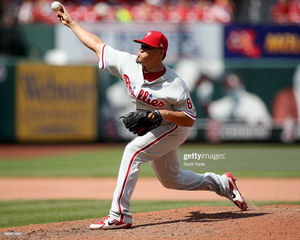 Victor Arano #64 of the Philadelphia Phillies pitches during the seventh inning against the St. Louis Cardinals at Busch Stadium on May 20, 2018 in St. Louis, Missouri.