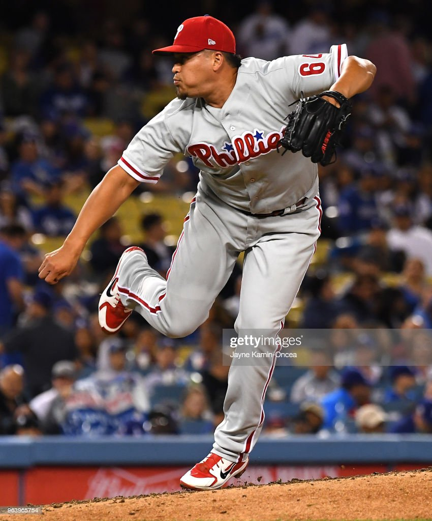 Victor Arano #64 of the Philadelphia Phillies pitches in the fifth inning of the game against the Los Angeles Dodgers at Dodger Stadium on May 30, 2018 in Los Angeles, California.