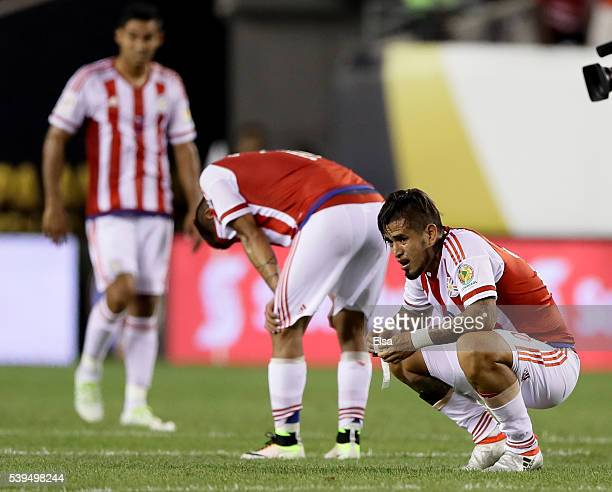 Victor Ayala of Paraguay reacts to the loss after the Copa America Centenario Group C match against the United States at Lincoln Financial Field on...