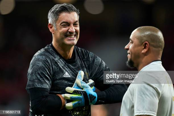 Victor Baia of Goldstandard smiling during a frienly match at Wanda Metropolitano on December 21 2019 in Madrid Spain