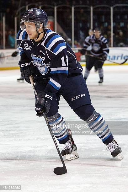 Victor Baldaev of the Chicoutimi Sagueneens skates against the Gatineau Olympiques during a game on February 20, 2015 at Robert Guertin Arena in...