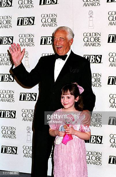Victor Borge and Mara Wilson during 1995 Golden Globe Awards in Los Angeles, California, United States.