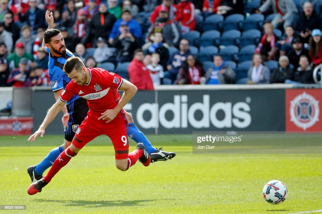 Victor Cabrera #36 of Montreal Impact fouls Luis Solignac #9 of Chicago Fire and received a red card for denying an obvious goal scoring opportunity during the second half at Toyota Park on April 1, 2017 in Bridgeview, Illinois. The match ended in a 2-2 draw.