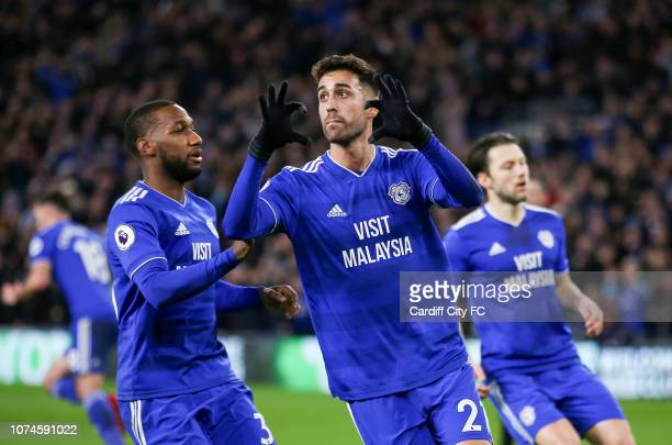 Victor Camarasa celebrates scoring for Cardiff City during the Premier League match between Cardiff City and Manchester United at Cardiff City...