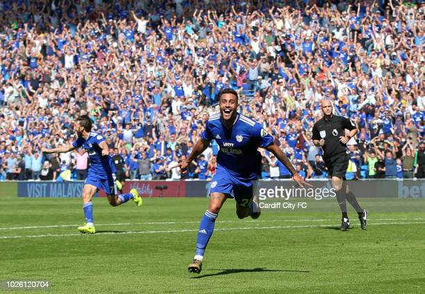 Victor Camarasa of Cardiff City celebrates the first goal for Cardiff City during the Premier League match between Cardiff City and Arsenal FC at...