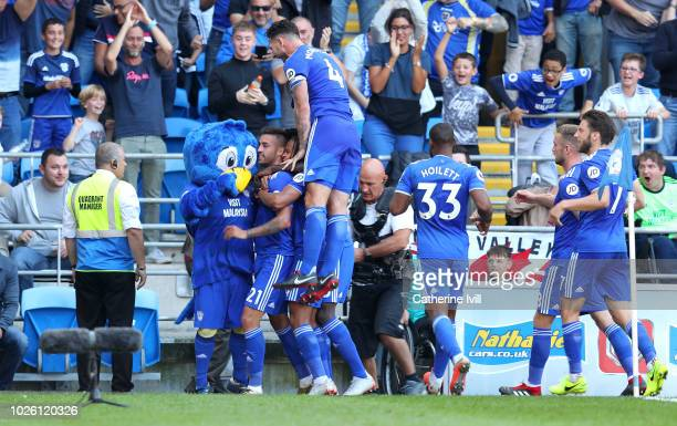 Victor Camarasa of Cardiff City celebrates with team mates after he scores his sides first goal during the Premier League match between Cardiff City...