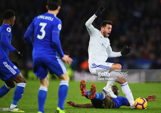 Victor Camarasa of Cardiff City is tackled by Nampalys Mendy of Leicester City during the Premier League match between Leicester City and Cardiff...