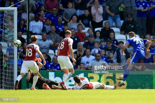 Victor Camarasa of Cardiff City scores a goal to make it 11 during the Premier League match between Cardiff City and Arsenal FC at Cardiff City...