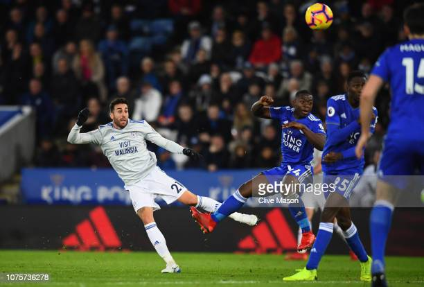 Victor Camarasa of Cardiff City scores his sides first goal during the Premier League match between Leicester City and Cardiff City at The King Power...