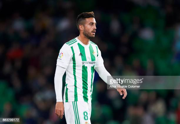 Victor Camarasa of Real Betis reacts during the Copa del Rey Round of 32 Second Leg match between Real Betis Balompie and Cadiz CF at Estadio Benito...