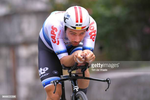 Victor Campenaerts of Belgium and Team Lotto Soudal European Champion Jersey / during the 70th Criterium du Dauphine 2018 Prologue a 66km individual...