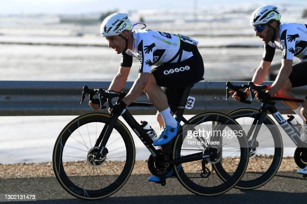 Victor Campenaerts of Belgium & Carlos Barbero of Spain and Team Team Qhubeka Assos during the 34th Clásica de Almeria 2021 a 183,3km race from...