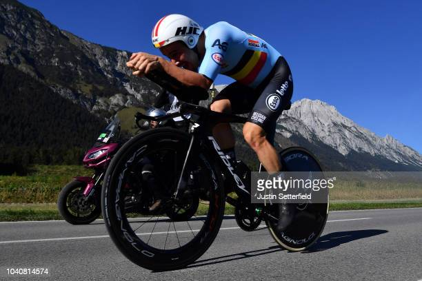 Victor Campenaerts of Belgium / during the Men Elite Individual Time Trial a 52,5km race from Rattenberg to Innsbruck 582m at the 91st UCI Road World...