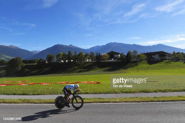 Victor Campenaerts of Belgium / Landscape / Mountains / during the Men Elite Individual Time Trial a 52,5km race from Rattenberg to Innsbruck 582m at...