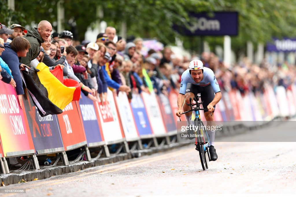 Victor Campensaerts of Belgium approaches the finish line to win the Men's Road Cycling on Day Seven of the European Championships Glasgow 2018 at Glasgow Cycling TT Course on August 8, 2018 in Glasgow, Scotland. This event forms part of the first multi-sport European Championships.
