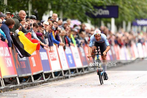 Victor Campensaerts of Belgium approaches the finish line to win the Men's Road Cycling on Day Seven of the European Championships Glasgow 2018 at...