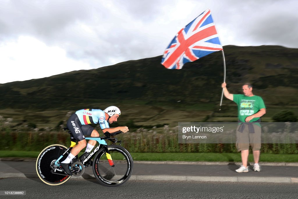 Victor Campensaerts of Belgium in action on his way to winning the Men's Road Cycling on Day Seven of the European Championships Glasgow 2018 at Glasgow Cycling TT Course on August 8, 2018 in Glasgow, Scotland. This event forms part of the first multi-sport European Championships.