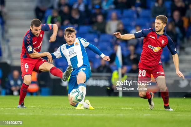 Victor Campuzano of Espanyol defended by Oier Sanjurjo of Osasuna and Darko Brasanac of Osasuna during the Espanyol V Osasuna La Liga regular season...