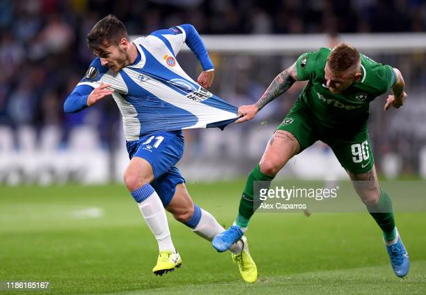 Victor Campuzano of Espanyol is fouled by Rafael Forster of Ludogorets leading to a red card during the UEFA Europa League group H match between...