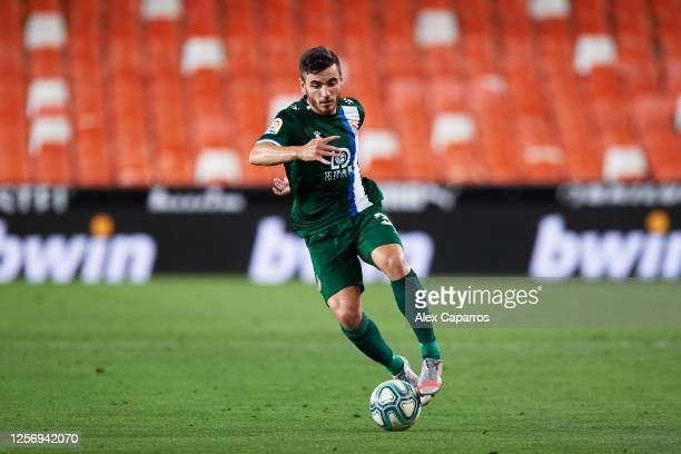 Victor Campuzano of RCD Espanyol controls the ball during the Liga match between Valencia CF and RCD Espanyol at Estadio Mestalla on July 16 2020 in...