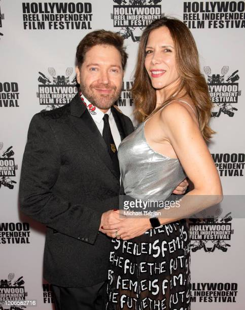 Victor Cardenas and Andrea Codriansky arrive at A Dark Foe Film Premiere on February 15 2020 in Los Angeles California