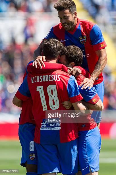 18 Victor Casadesus of Levante UD celebrates with his team mates during La Liga match between Levante UD v Athletic de Bilbao at Ciutat de Valencia...