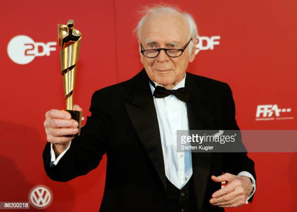 Victor ChristophCarl von Buelow better known as Loriot holds his LOLA at the German Film Award 2009 at the Palais am Funkturm on April 24 2009 in...