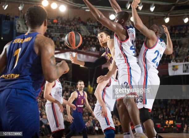 Victor Claver #30 of FC Barcelona Lassa in action during the 2018/2019 Turkish Airlines EuroLeague Regular Season Round 15 game between FC Barcelona...
