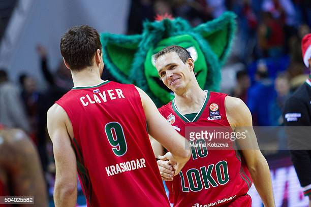 Victor Claver #9 of Lokomotiv Kuban Krasnodar and Sergey Bykov #10 of Lokomotiv Kuban Krasnodar after the Turkish Airlines Euroleague Basketball Top...