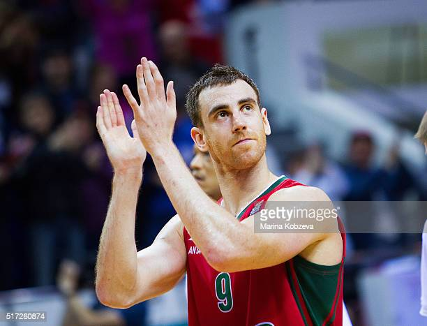 Victor Claver #9 of Lokomotiv Kuban Krasnodar celebrates after the 20152016 Turkish Airlines Euroleague Basketball Top 16 Round 12 game between...