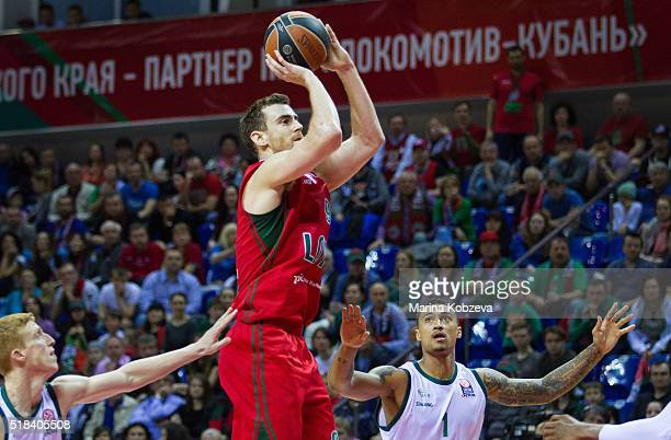 Victor Claver #9 of Lokomotiv Kuban Krasnodar in action during the 20152016 Turkish Airlines Euroleague Basketball Top 16 Round 13 game between...