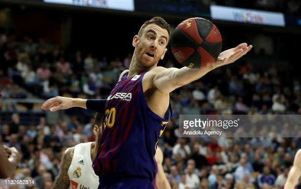 Victor Claver of Barcelona Lassa in action during the Liga Endesa week 24 match between Real Madrid and FC Barcelona Lassa at Wizink Center on March...