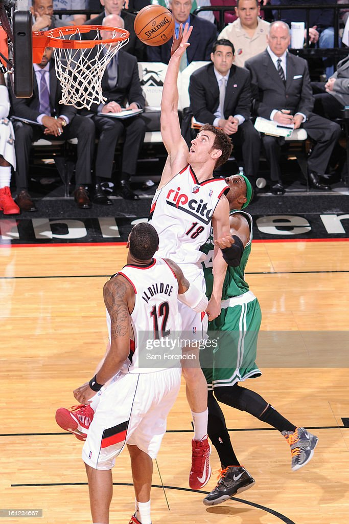 Victor Claver #18 of the Portland Trail Blazers drives to the basket against the Boston Celtics on February 24, 2013 at the Rose Garden Arena in Portland, Oregon.