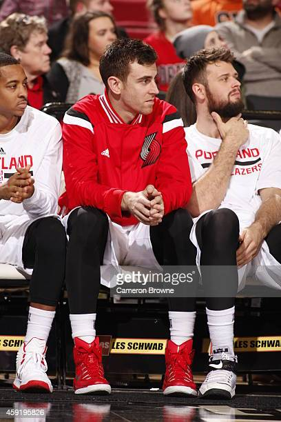 Victor Claver of the Portland Trail Blazers sits on the bench during the game against the Brooklyn Nets on November 15 2014 at the Moda Center Arena...