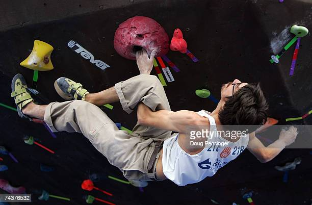 Victor Copeland of Cordova, California ascends one of the problems presented during the Pro Bouldering Qualifier during The Teva Mountain Games on...