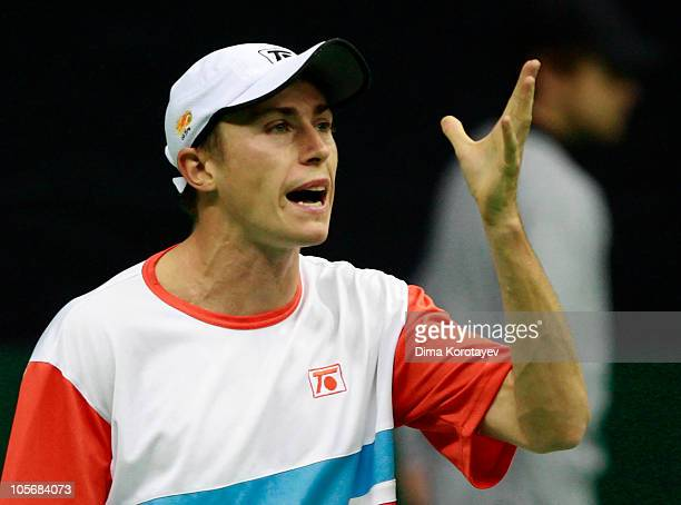 Victor Crivoi of Romania in action against Andrey Kuznetsov of Russia during the XXI International Tennis Tournament Kremlin Cup 2010 at the Olympic...